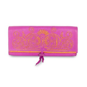 front view handmade Pink and Orange Leather Clutch Bag   ABURY Collection - Clutch Bags - ABURY Collection