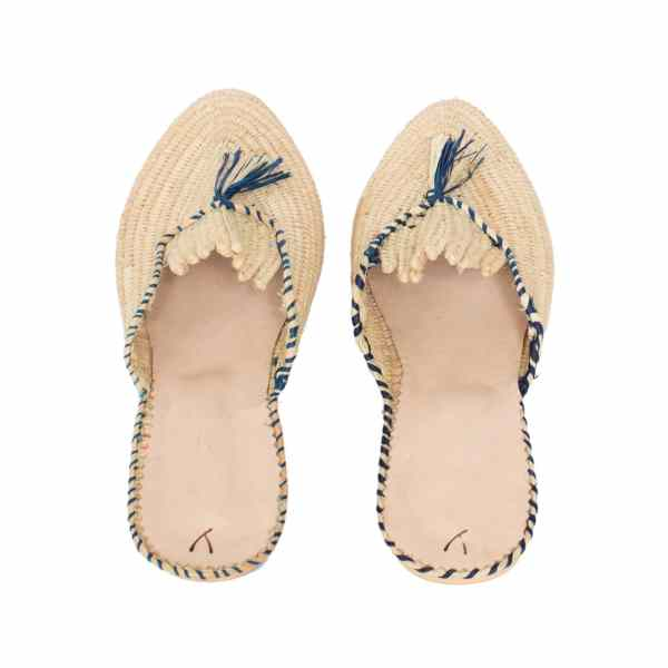 back side abury beige and blue raffia summer slippers with tassel