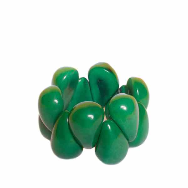 tagua raindrop bracelet forest green - jewellery from Ecuador