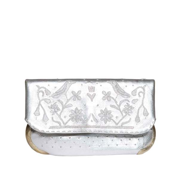 front view handmade silver abury lovebirds clutch bag