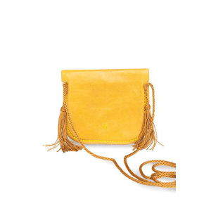Yellow Leather Mini Shoulder Bag sustainable product Back view