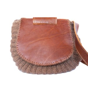 back view Wool and Leather Mini Shoulder Bag Gladys
