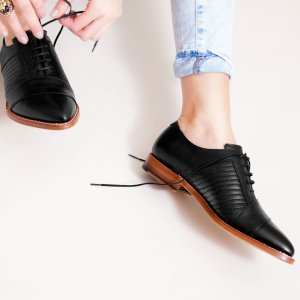 Goodyear welted, black coloured sustainable flat shoe by ALINASCHUERFELD