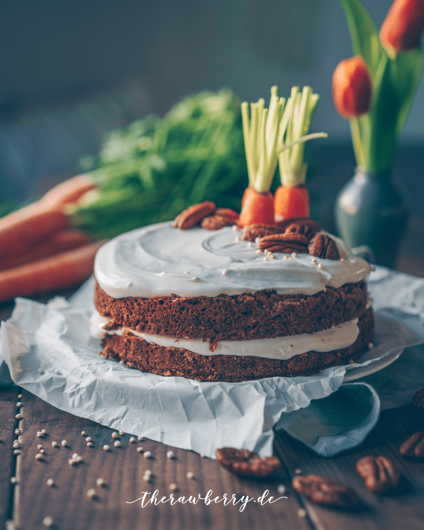 carrot cake, Rüblikuchen, Karottenkuchen, kuchen, cake, vegan, backen, baking, delicious, lecker, healthy, gesund, easter, ostern, einfach, easy, whole foods, diet, veggies, gems, therawberry