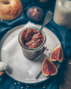 fig, jam, bagels, delicious, fresh, from scratch, vegan, gluten-free, cooking, easy, einfach, kochen, marmalade, jar, glass, Glas, feigen, einfach, lecker, simple, süß, frühstück, breakfast
