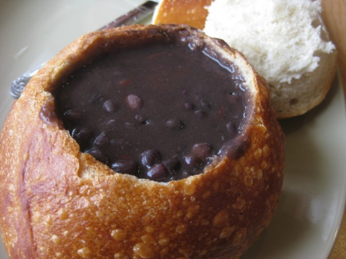 Image result for panera's black bean soup bread bowl