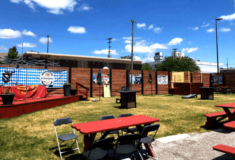 Rathskeller Bier Haus outdoor seating and stage