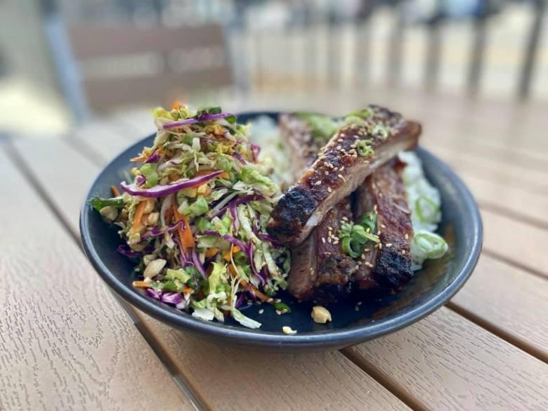 hinese pork ribs, sesame Asian slaw and jasmine rice on the Butterfish patio