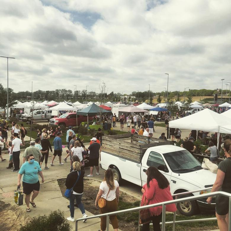 Crowd at the Omaha Farmers Market first Sunday