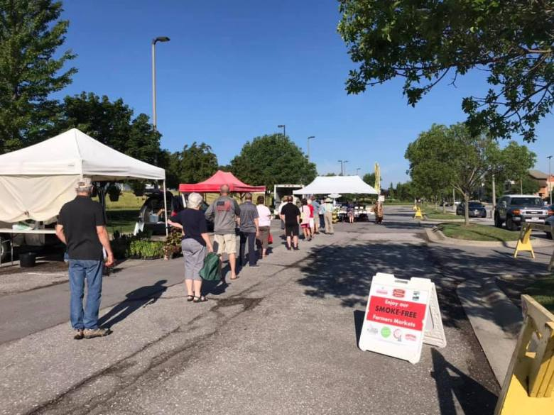 Line of customers at Omaha Farmers Market