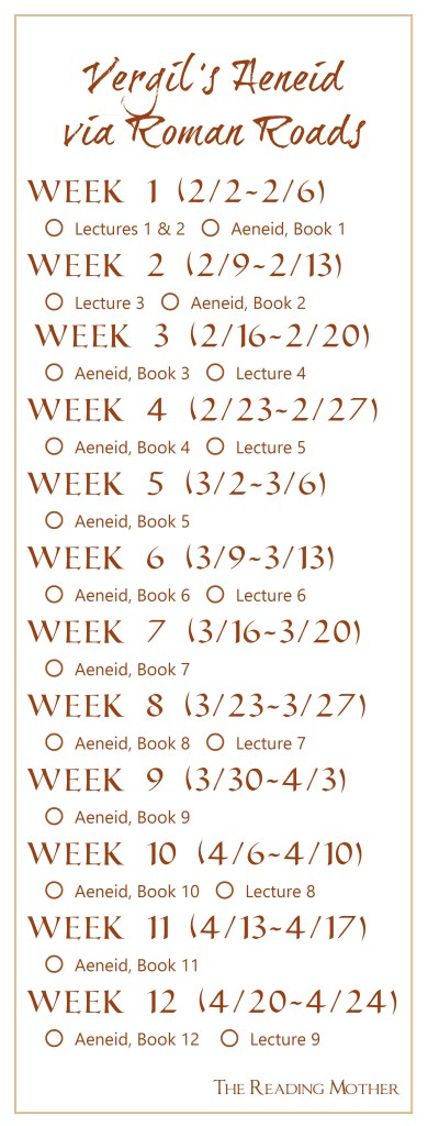 Aeneid Reading Schedule Bookmark | The Reading Mother