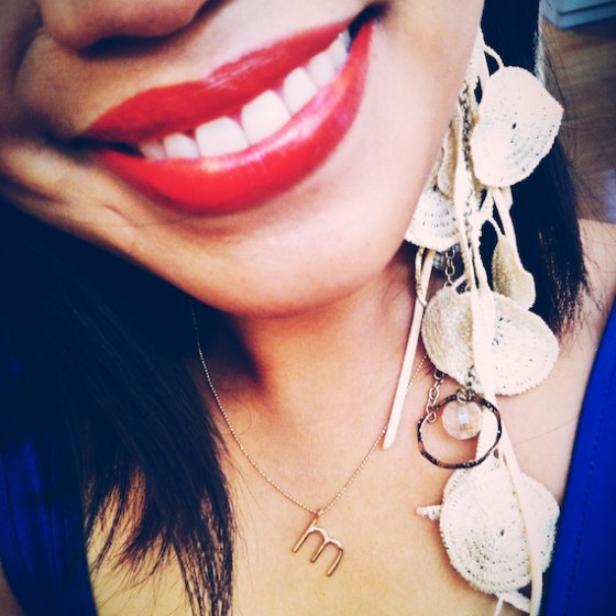 Day in the Life, thereafterish, selfie, ariel gordon initial necklace, lace earring, coral lipstick