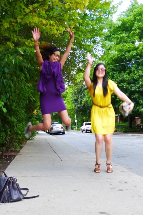 blogger jump pose