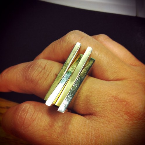 gold architectural statement ring