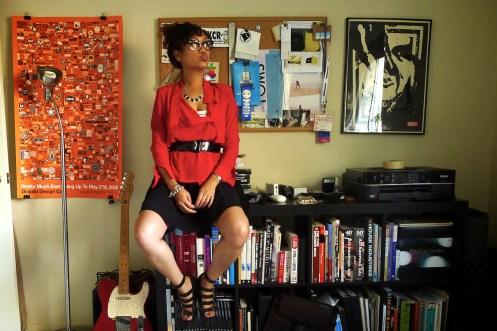 Red Chiffon drape blouse, Destrucked.com, 50s nerd