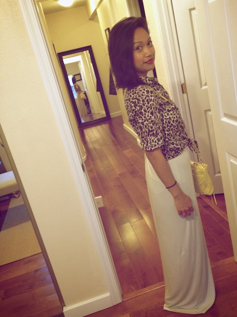 thereafterish, OOTD, fighting eel maxi, wang tempest knock off, leopard button down, Rebecca minkoff mac mini