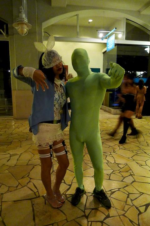 thereafterish, Aloha Tower Halloween Party, Greenman, Lady Gaga White Rabbit Costume