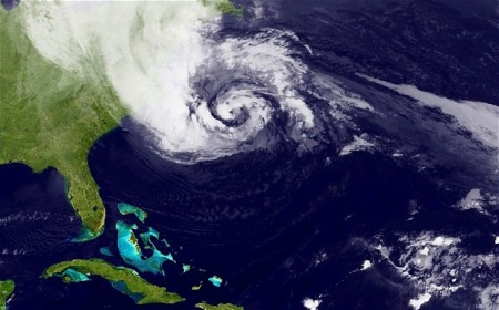 hurricane sandy satellite view