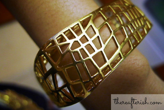 thereafterish, ootd, jewelmint birdcage bangle, birdcage bangle