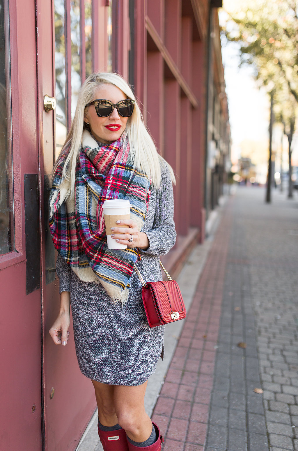 d131382105e famous zara blanket scarf worn with grey sweater dress and red boots