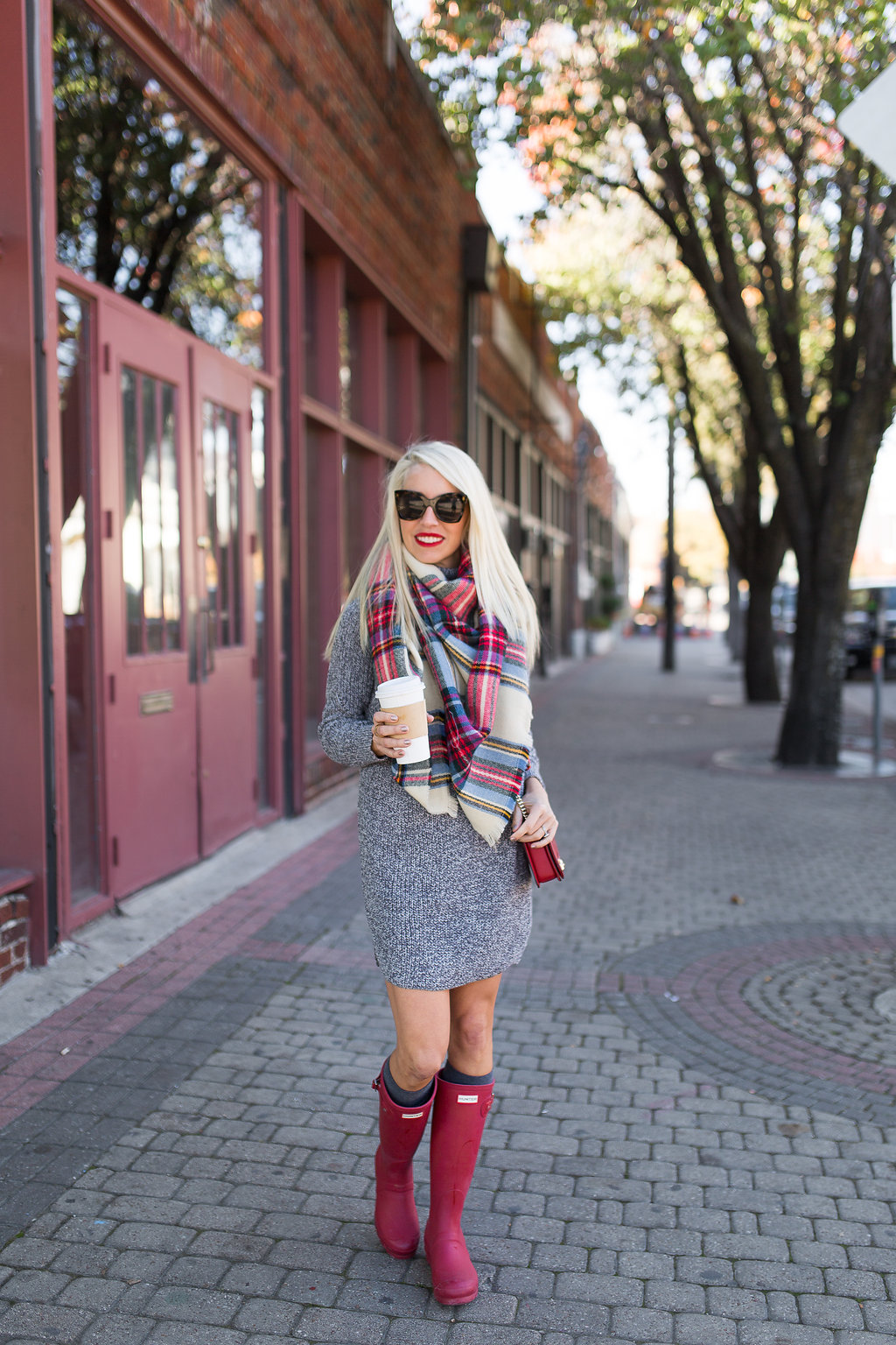 02a87d4d5b3 famous zara blanket scarf worn with grey sweater dress and red boots