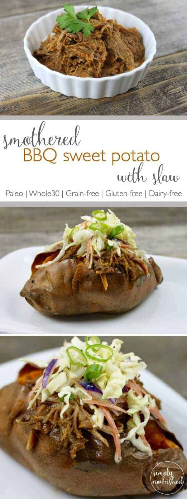 BBQ Sweet Potato with Slaw   Everything you need is right here in one dish! This baked sweet potato topped with tangy BBQ beef and creamy, crunchy coleslaw is easy to pull together with a little advance prep so you can get dinner on the table fast   https://therealfoodrds.com/smothered-bbq-sweet-potato-with-slaw-recipe/