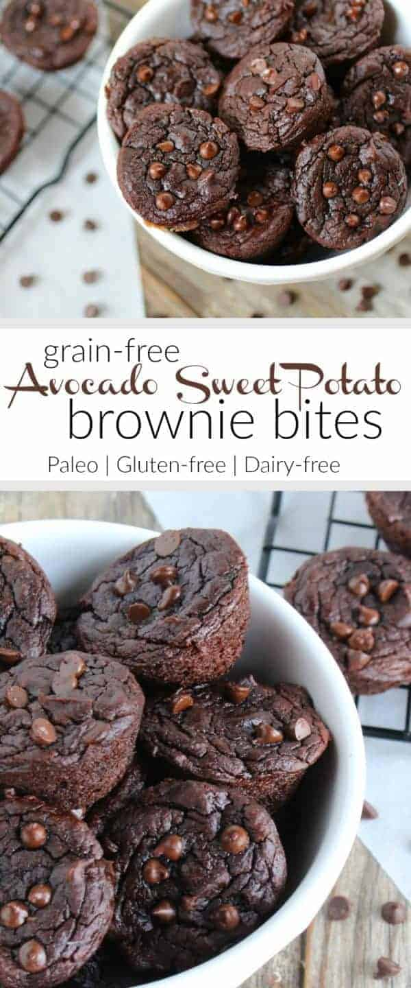 Grain-free Avocado Sweet Potato Brownie Bites   An ooey-gooey fudgy brownie bite filled with healthy fats and chocolaty goodness. Need we say more? You'll never know this recipe includes avocado and sweet potato!   Paleo   Gluten-free   therealfoodrds.com