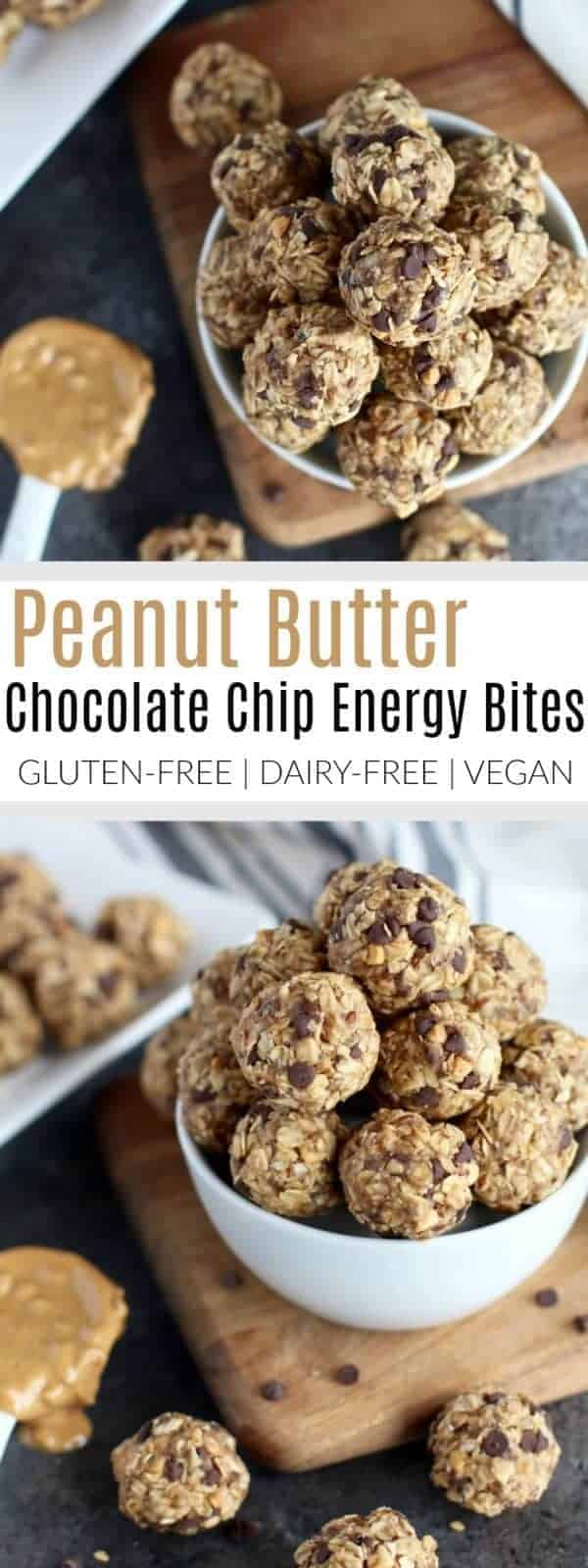 Peanut butter and chocolate come together with whole grain oats, flax and chia seeds in these Peanut butter Chocolate Chip Energy Bites. A healthy gluten-free, dairy-free, vegan-friendly snack or pre-workout fuel. | The Real Food Dietitians | https://therealfoodrds.com/peanut-butter-chocolate-chip-energy-bites/