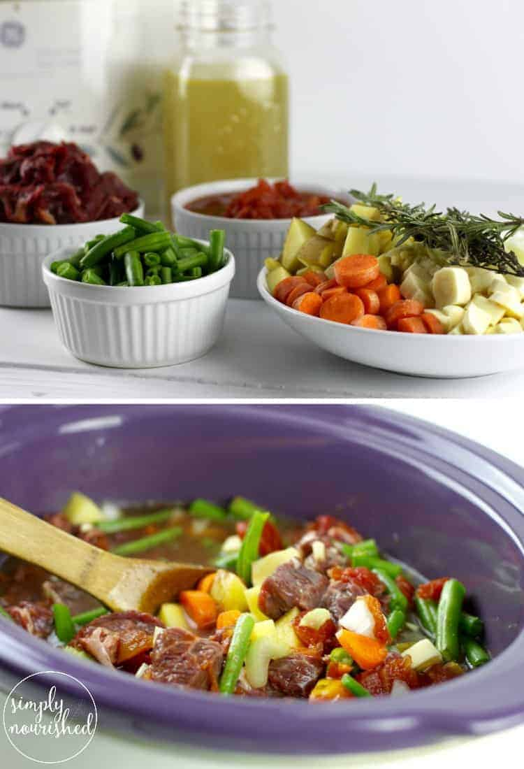 Warm-up with this hearty Slow Cooker Beef Stew   healthy slow cooker recipes   healthy slow cooker stews   whole30 slow cooker recipes   whole30 soups and stews   paleo slow cooker recipes   paleo soups   gluten-free slow cooker recipes   gluten-free soups   dairy-free slow cooker recipes   dairy-free soups    The Real Food Dietitians #whole30soups