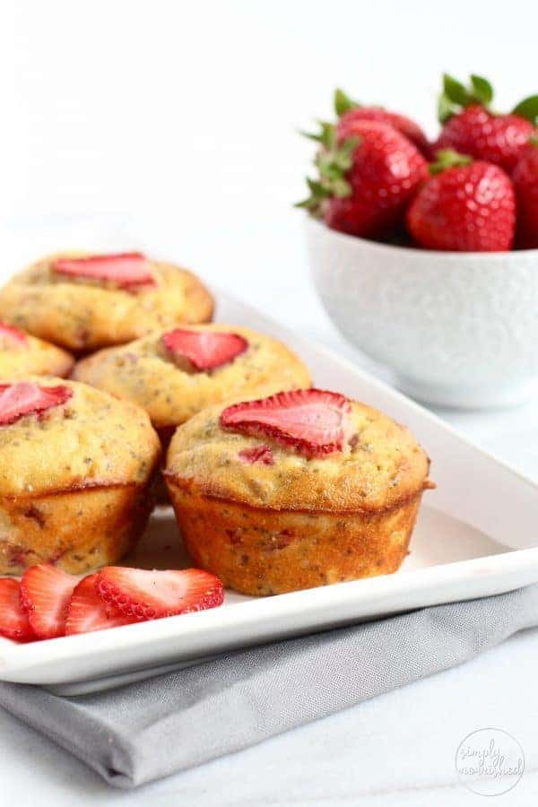 Strawberry Rhubarb Chia Muffins