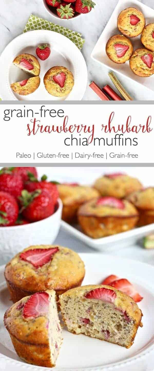 Strawberry Rhubarb Chia Muffins |Combining rhubarb and strawberries in these muffins results in the perfect balance of tart and sweet | https://therealfoodrds.com/grain-free-strawberry-rhubarb-chia-muffins/