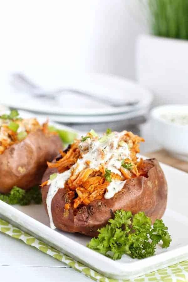 Shredded Buffalo Chicken Stuffed Sweet Potato