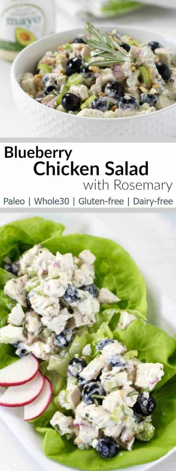 ur Blueberry Chicken Salad with Rosemary is easy enough for a weeknight dinner yet fancy enough for special occasions| Whole30| Paleo | Dairy-free | Gluten-free | https://therealfoodrds.com