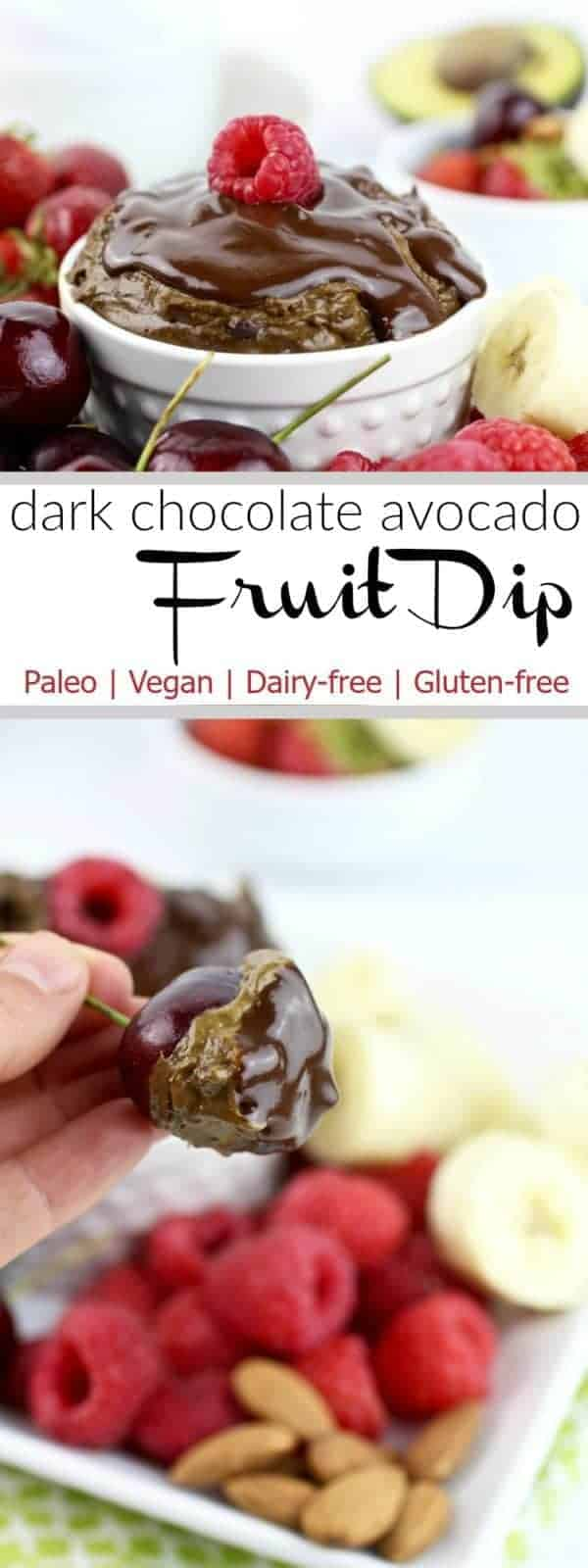 Fruit dipping just got a whole lot more fun and delicious with this healthy paleo & vegan-friendly Dark Chocolate Avocado Fruit Dip! | therealfoodrds.com