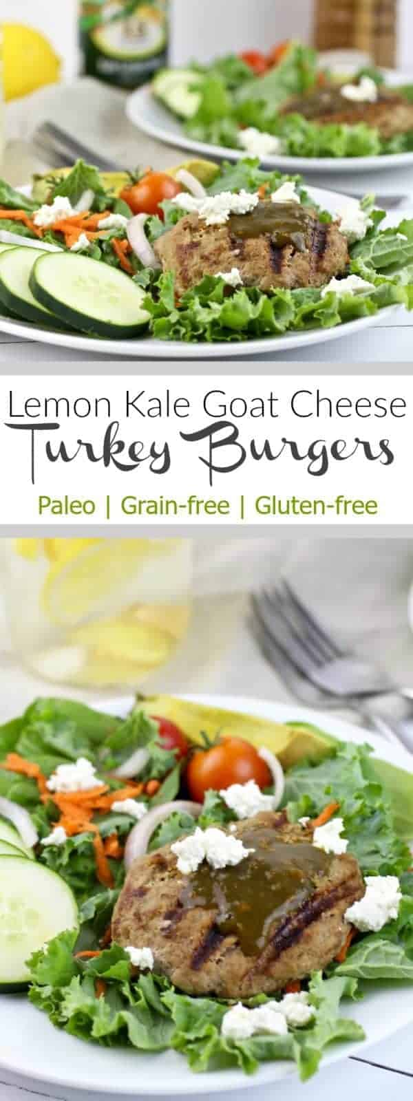 Never eat a boring burger again! Lemon Kale Goat Cheese Turkey Burgers are easy to make, flavorful, and made with only 4 ingredients | Paleo | Gluten-free | Dairy-free Option | therealfoodrds.com