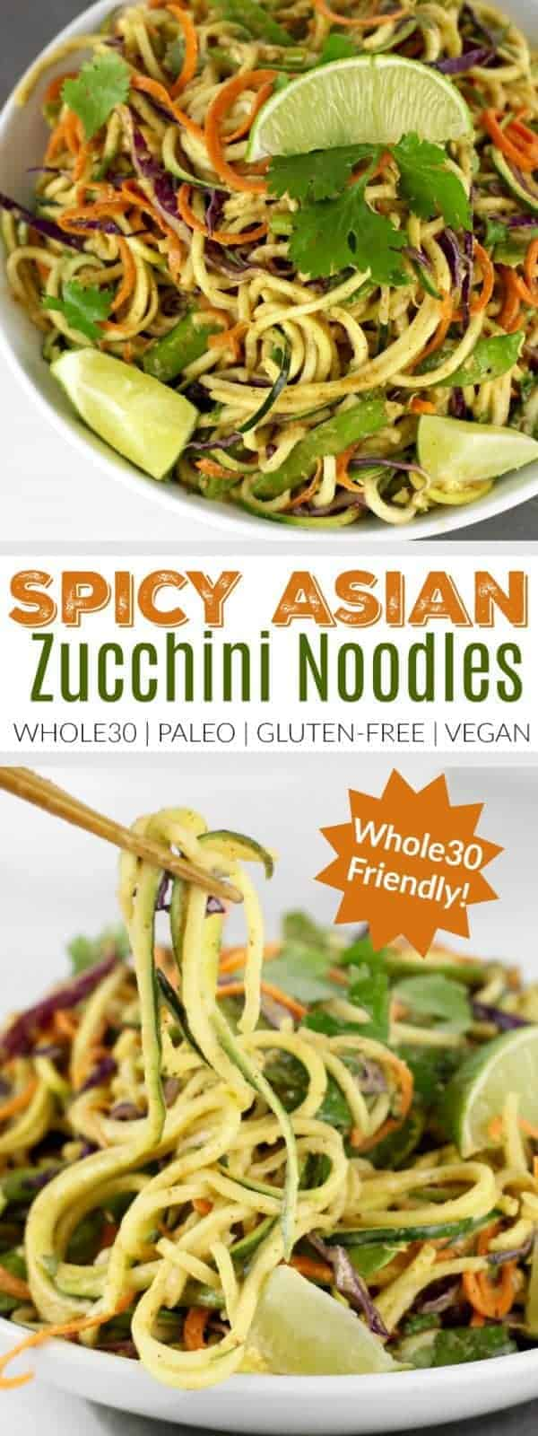 Spicy Asian Zucchini Noodles | zucchini noodle recipes | how to make zucchini noodles | healthy dinner recipes | healthy asian inspired dishes | Whole30 approved recipes | Whole30 dinner recipes | Whole30 meal ideas | paleo dinner recipes | gluten free dinner recipes | vegan dinner recipes || The Real Food Dietitians