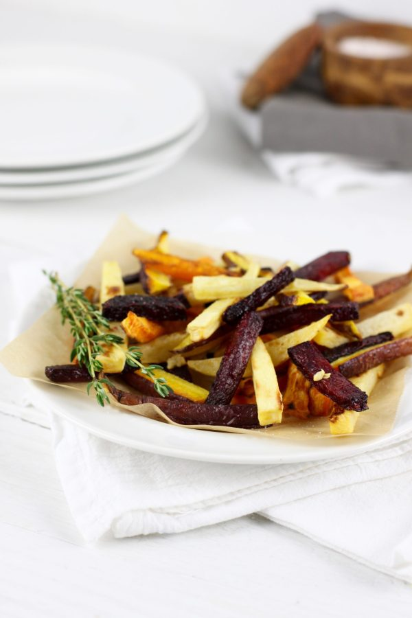 Garlic Roasted Root Vegetable Fries | The Real Food Dietitians | http://therealfoodrds.com/garlic-roasted-root-vegetable-fries/