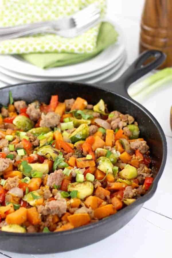 Brussels Sprouts Sweet Potato Sausage Hash