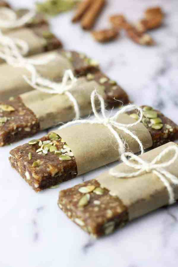 Pumpkin Spice Protein Bars   easy no-bake recipes   healthy snack recipes   healthy protein bar recipes   homemade protein bars   how to make a protein bar   healthy fall recipes   healthy fall snacks   gluten free snack recipes   gluten free fall snacks   gluten free pumpkin recipes   paleo snack recipes   paleo pumpkin recipes   dairy free snack recipes    The Real Food Dietitians