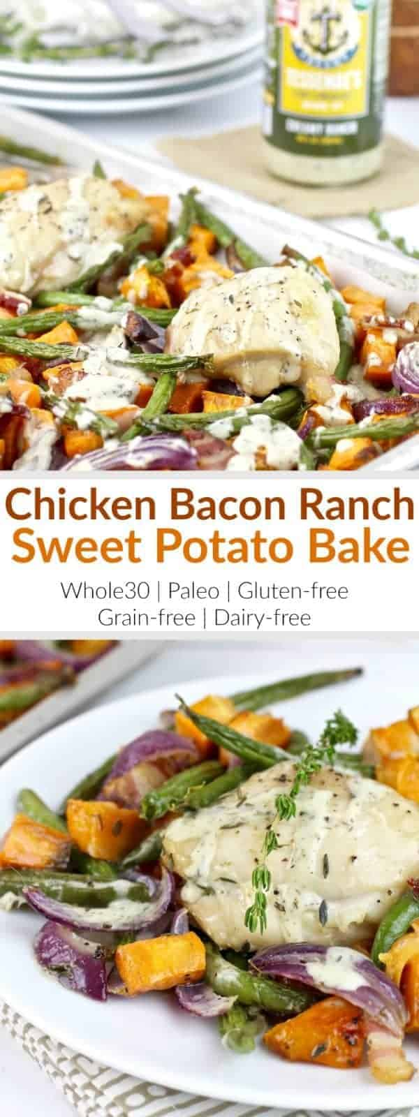 One-pan Chicken Bacon Ranch Sweet Potato Bake is a highly palatable meal and will likely become the newest family favorite and addition to your menu rotation! | Whole30 | Paleo | Gluten-free | Grain-free | Dairy-free | therealfoodrds.com