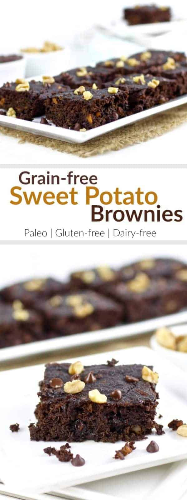 Grain-free Sweet Potato Brownies are paleo-friendly, nutritious and just what you need when you want a little something sweet | Paleo | Gluten-free | Grain-free | Dairy-free | gluten-free brownies | paleo brownies | dairy-free brownies | healthy brownies | healthy desserts || The Real Food Dietitians #glutenfreedesserts #sweetpotato