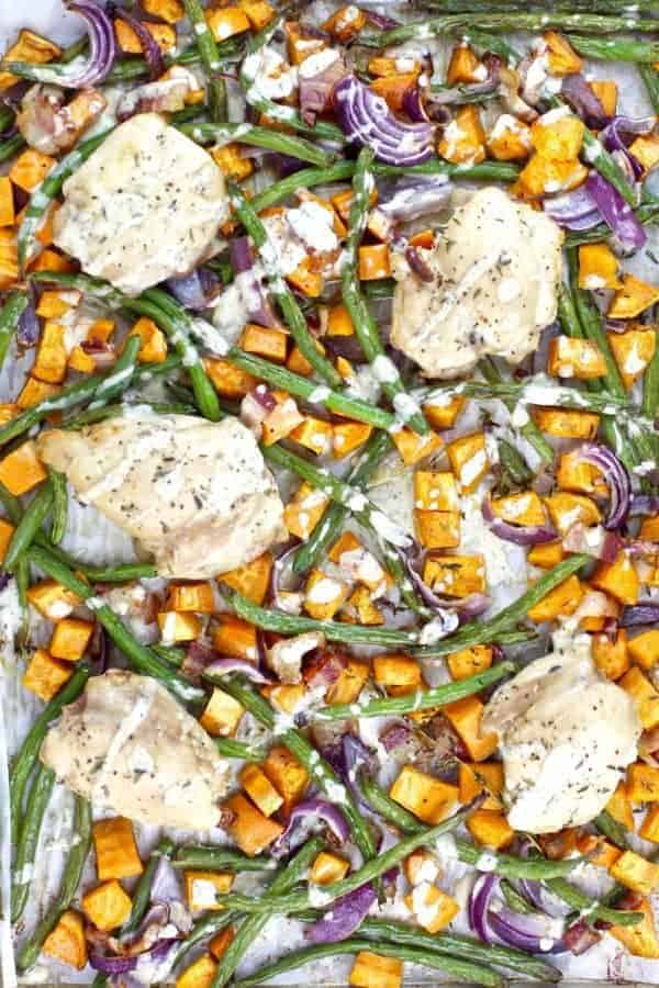 One-pan Chicken Bacon Ranch Sweet Potato Bake is a highly palatable meal and will likely become the newest family favorite and addition to your menu rotation!   Whole30   Paleo   Gluten-free   Grain-free   Dairy-free   whole30 dinners   paleo dinners   gluten-free dinners   grain-free dinners   dairy-free dinners   healthy dinners    The Real Food Dietitians #whole30dinners #sheetpanmeals