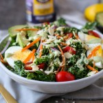 Kale Salad with Avocado Caesar Dressing