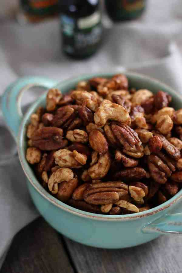 Slow Cooker Spiced Nuts | paleo snack recipes | vegan snack recipes | gluten-free snack recipes | dairy-free snack recipes | healthy snack recipes | homemade nut recipes | healthy nut recipes || The Real Food Dietitians #nutrecipes #paleosnack #vegansnack