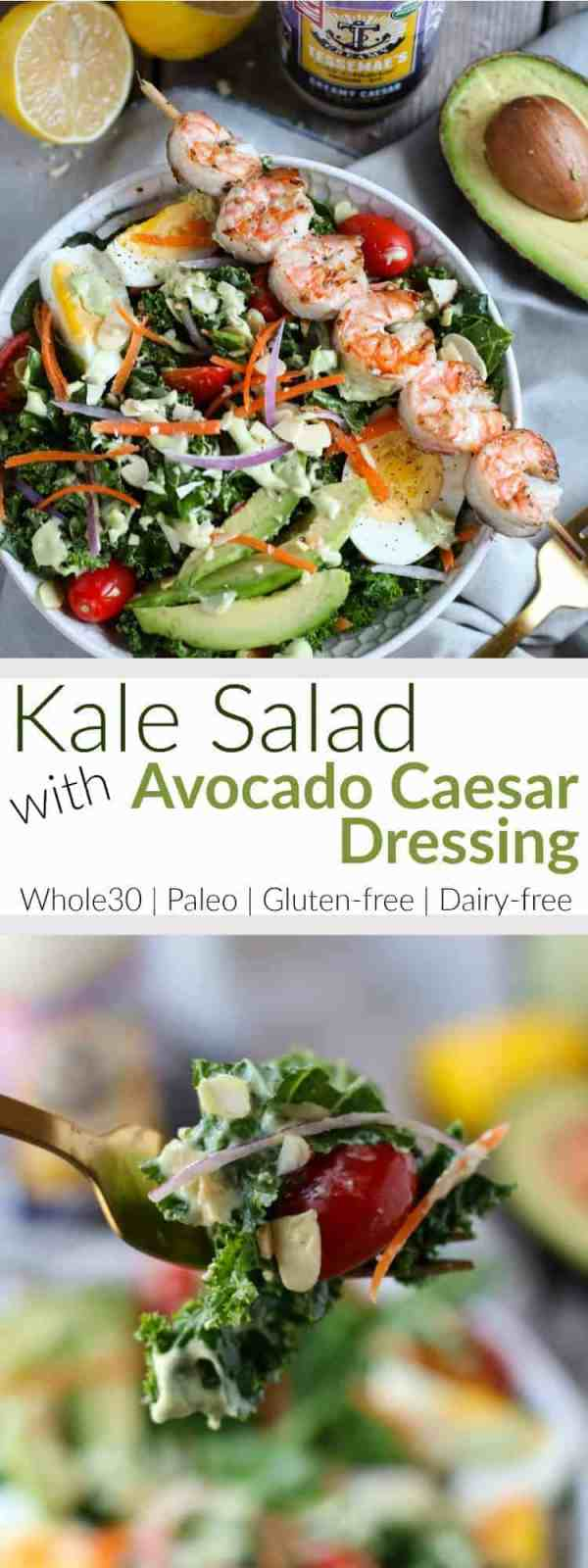 Kale Salad with Avocado Caesar Dressing | The classic Caesar Salad gets a healthy makeover in this Whole30-friendly version made with kale, fresh veggies and hard-boiled egg | therealfoodrds.com