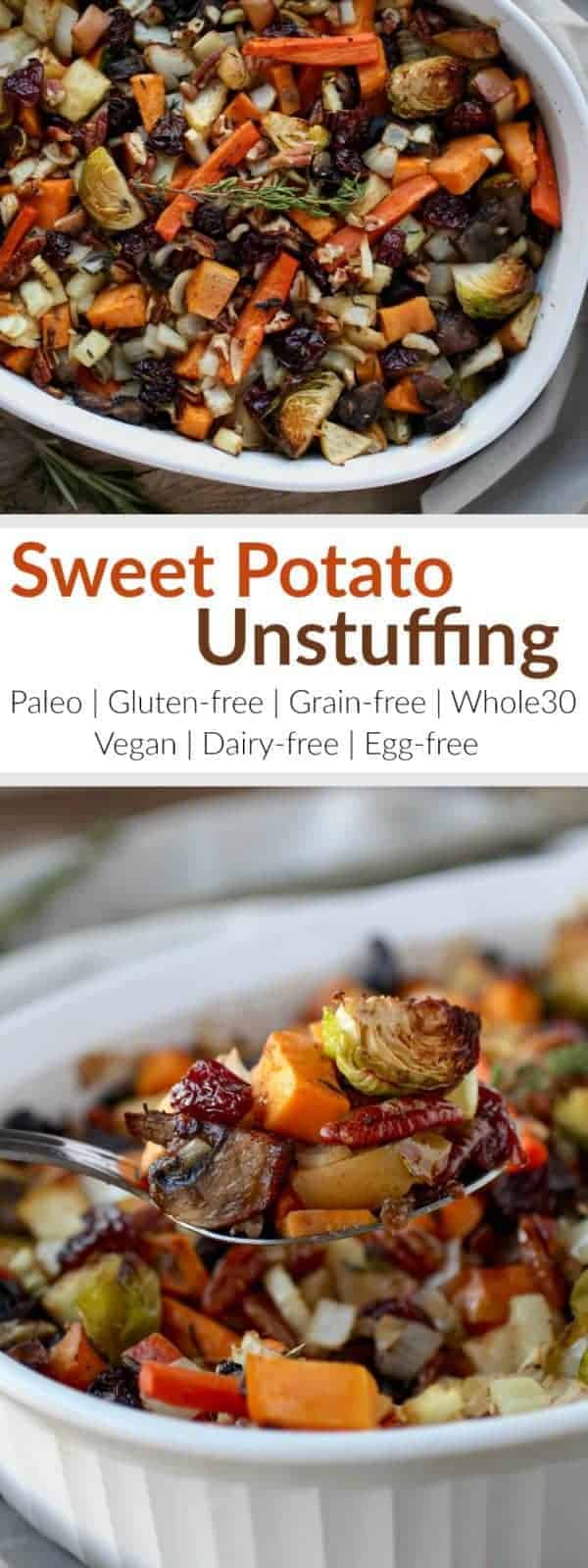 Gluten-Free Sweet Potato Unstuffing makes for a crowd-pleasing Thanksgiving side-dish or a tasty addition to your weeknight menu. It has the flavors of stuffing but without the bread. It's loaded with a variety of veggies with the addition of dried cherries, apples, pecans, and fresh herbs. The ingredients come together to create quite a delicious and healthy 'stuffing' side-dish   Whole30   Paleo   Vegan   therealfoodrds.com
