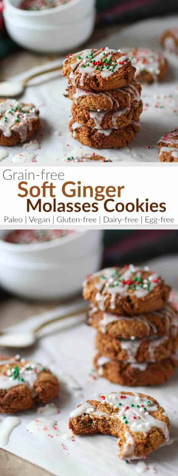 Grain-free Soft Ginger Molasses Cookies | Tis' the season for Holiday treats galore! These cookies are a divine, melt-in-your-mouth, soft grain-free cookie. They're drizzled with melted coconut butter and topped with holiday sprinkles. Make them vegan/egg-free by replacing the one egg with a flax egg | Paleo | Vegan | Gluten-free | therealfoodrds.com