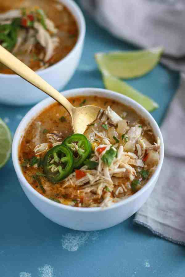 Slow Cooker White Chicken Chili - Whole30 | The Real Food Dietitians | https://therealfoodrds.com/slow-cooker-white-chicken-chili/
