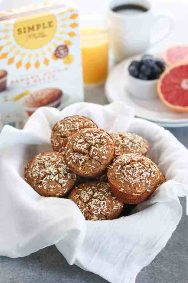 Grain-Free Banana Coconut Muffins | Grain-free, dairy-free Banana Muffins made with coconut and chia seeds to make your breakfast life a whole lot easier. | gluten-free muffin recipes | dairy-free muffin recipes | paleo muffin recipes | healthy muffin recipes | healthy breakfast recipes || The Real Food Dietitians #glutenfreemuffins #healthymuffins #healthybreakfast