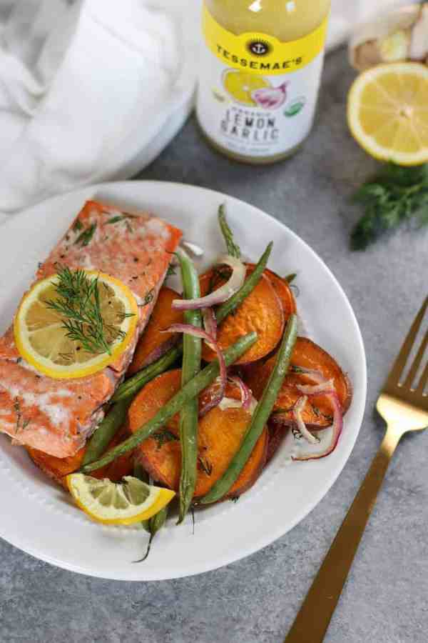 One-Pan Salmon and Veggie Bake   The Real Food Dietitians   https://therealfoodrds.com/one-pan-salmon-and-veggie-bake/
